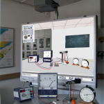 Vergleich von realem Versuchaufbau zum Millikan-Experiment und der Umsetzung des entsprechenden Virtual-Reality-Experiments auf einem Interaktiven Whiteboard (IWB).